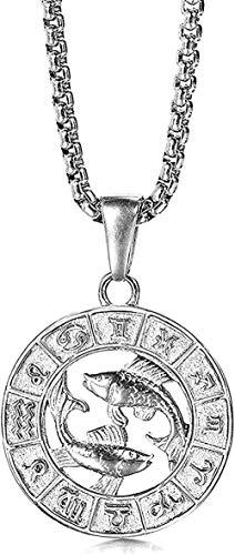 CCXXYANG Co.,ltd Collar Color Plateado Acero Inoxidable 12 Signo del Zodiaco Constelación Aries Colgante Collar para Hombres Mujeres Regalo Piscis