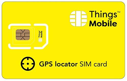 SIM-Karte für GPS-ORTUNGSGERÄT - Things Mobile - mit weltweiter Netzabdeckung und Mehrfachanbieternetz GSM/2G/3G/4G. Ohne Fixkosten und ohne Verfallsdatum. 10 € Guthaben inklusive