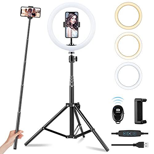 Ring Light avec Trépied, Sunfoto 10'' LED Anneau Lumineux Réglable avec 3 Modes d'Eclairage et 10 Niveaux de Luminosité pour Les Vidéos Youtube / TikTok / Live Stream / Maquillage / Photographie