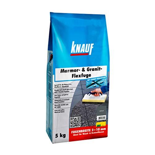 Knauf Marmor- & Granit-Flexfuge – Spezial Fugen-Mörtel auf Zement-Basis für Marmor, Granit, Natur-Steine, Glas-Fliesen und Glas-Mosaik, schnellhärtend, mit Perl-Effekt, Anthrazit, 5-kg