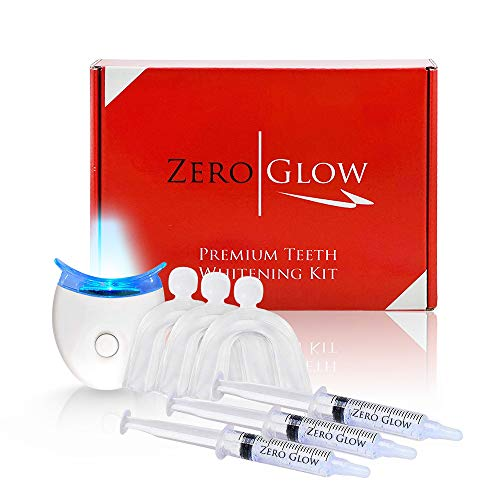 Zero Glow Teeth Whitening Kit Carbamide Peroxide Syringes, LED Light, Custom Moldable Trays