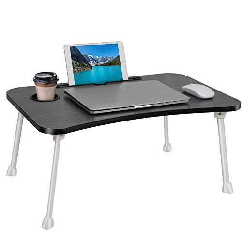 Folding Standing Laptop Desk Laptop Bed Table Notebook Stand Reading Writing Studying Breakfast Tray with Cup Holder,Portable Lap Desk Dining Table for Home Bed Office Children Adults - Black
