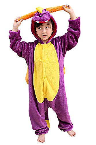 Dolamen Bambini Unisex Kigurumi Pigiama Onesie, Ragazza Ragazzo Anime Cosplay Halloween Natale Party Costume Attrezzatura Sleepwear (110-120CM (435'-47'), Dragon)