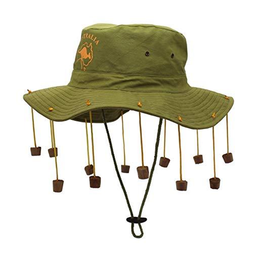 YSJJQSC Sonnenhüte Australien Folk Customs Hut 12 Perlen Quaste Baumwolle breite Traufe Bucket Herrenhut Sommer Sonnenschutz UV Hut (Farbe: grün 45,5 m)