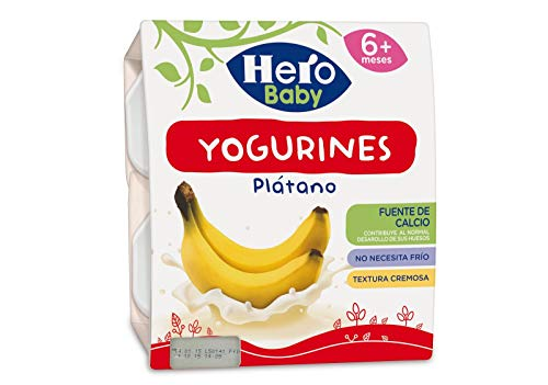 Hero Baby Yogurines Tarrinas de Yogur de Plátano para Bebés a partir de 6 meses Pack de 6 de 4x100 g