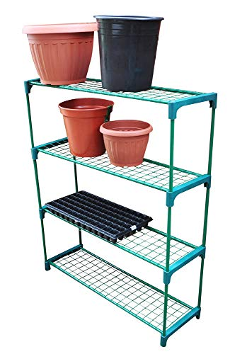 4 Tier Multi Purpose Greenhouse Staging Plant Flower Decor Rack Stand Display Shelving Unit Perfect for Garden, Shed, Garage Storage Indoor or Outdoor Organiser