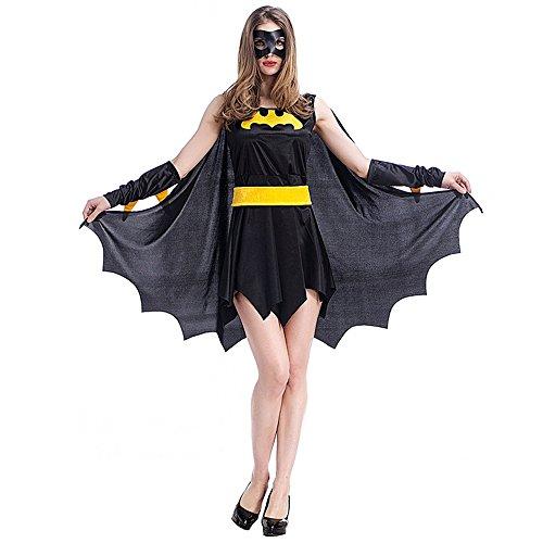 HUIO Halloween Vestido de la Mujer Black Bat Warrior Suit Anime Game Uniform Set Halloween Factory Outlet Party Pack Cosplay Ropa Cosplay Ropa para el Traje Cosplay