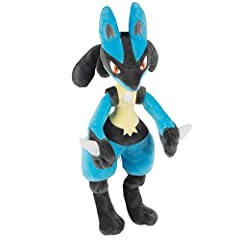 "Cute and cuddly 12"" Lucario Pokémon Plush Stuffed Animal is a must have for all Pokemon fans! This super soft plush figure is great to take wherever you go! The Lucario plush toy is inspired by Pokémon anime, trading cards, Let's Go!, Sword and Shiel..."