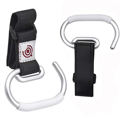 2Pcs Pram Clips for Shopping Bags Stroller Hooks Buggy Clips Pushchair for Toys Pram Hooks for Changing Bag Pram Accessories for Girl Boy Toddler Buggy Hooks with Black Strap