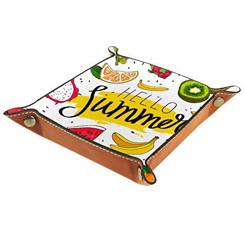 YATELI Caja de Almacenamiento pequeña, Bandeja de Valet para Hombre,Hello Verano Fruta Sandía Cita de plátano Naranja,Organizador de Cuero para Llaves de Caja de Monedas
