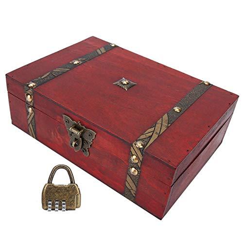 Caja de almacenamiento de joyería, caja organizadora de collar con pendiente retro de cinabrio, caja de almacenamiento de joyería de escritorio de aleación roja con diseñ