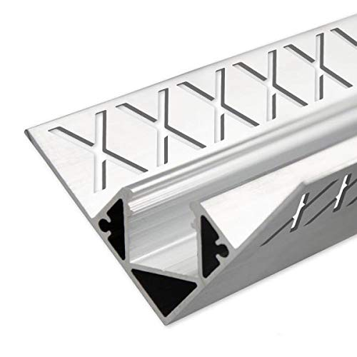 Perfil de aluminio para azulejos; longitud de 2 metros; incluye cubierta de 2 m opal; perfil de aluminio interior LED