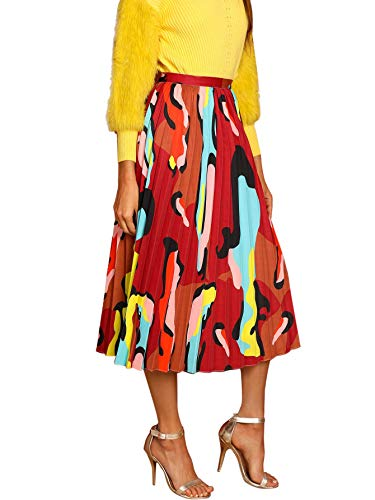 WDIRARA Women's Colorblock Print Pleated A Line Party Long Skirt Multicolor XS