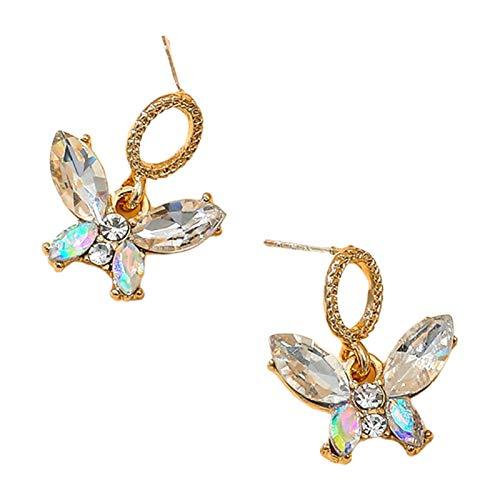 Ruby569y - Pendientes de mariposa creativa, diseño de pétalos de lujo coloridos pendientes de oreja dulce, accesorio de regalo de joyería elegante para mujeres y niños, color blanco
