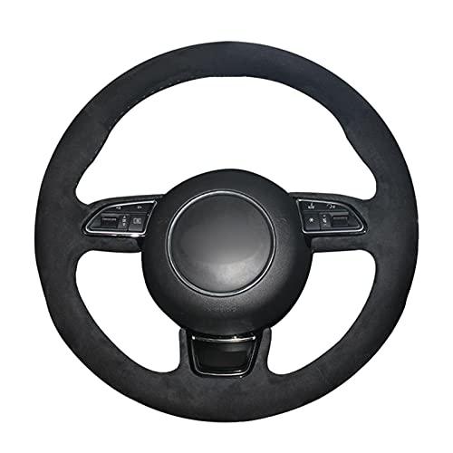 NUIOsdz Cubierta de Volante de Coche Negra Cosida a Mano para Audi A1A3 8V Sportback A4 B8 A5 8T A6 C7 A7 G8 A8 D4 Q3 8U Q5
