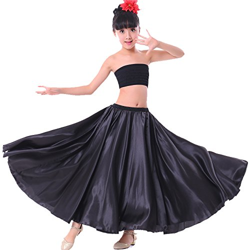 Backgarden Girl Children Color Stretched Waist Performance Circle Skirt Belly Dance Dress (8/10/12, Black)