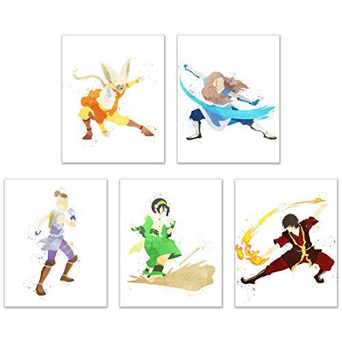 Avatar Aquarell: The Last Airbender Poster – 5er Set (20,3 x 25,4 cm), glänzend, Cartoon, Kampfkunst, Wasser-, Feuer-, Luft- und Erdennation, Wanddekoration – Aang – Katara – Sokka – Toph – Zuko