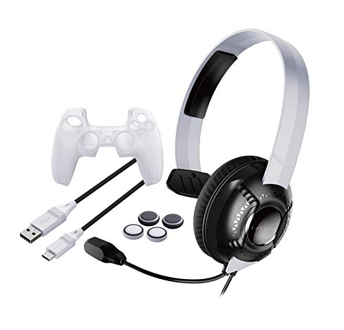 Raptor-Gaming PS5 Headset Kit SK100 mono, für Sony PS5, Player Kit / Set, PS 5 Silikonhülle für den DualSense Playstation 5 Controller, extra langes Ladekabel, Analogstick Aufsätze, RG-SK100