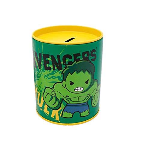 Flower_piggy Marvel Money Bank Boy Girl Spider-Man The Hulk Tin Toy Kid Captain America Coin Safe Box Birthday Gift (The Hulk)