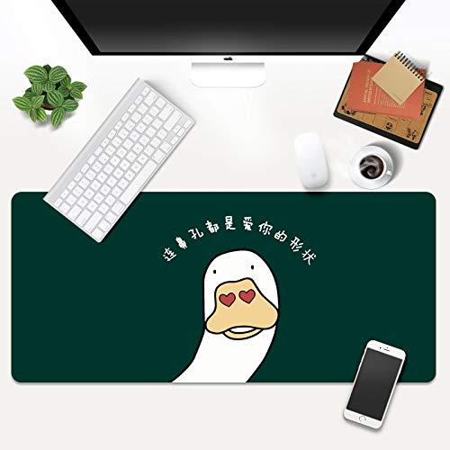 STDNJQ Alfombrilla para ratón Grande Pato de Dibujos Animados Lindo 800x300x3mm/31.5x11.8x0.118 Inch con Base de Goma Antideslizante y Bordes con Borde Cosido Alfombrilla de ratón Ordenador