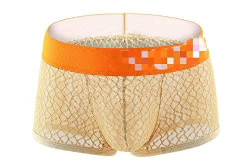 Wiftly Boxershorts Herren sexy Netz Transparent Beutel Unterhose Erotik Bequeme Low-Rise U Convex Shorts Briefs Unterwäsche für Männer (L, Hautfarbe)