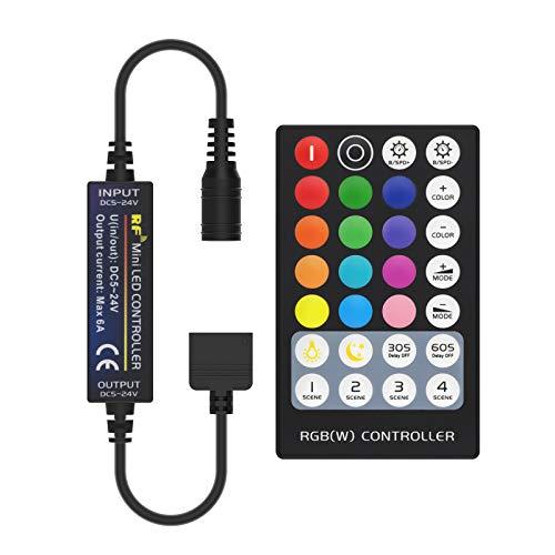 BTF-LIGHTING Mini 5 PIN RGBW 5050 RGB+Blanco Mando a distancia RF 28 Teclas para tiras LED RGBW DC12V/DC24V Ajustar velocidad/brillo/color/escena