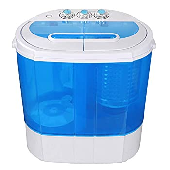 SUPER DEAL Portable Compact Washing Machine Mini Twin Tub Washing Machine 9.9 LB Capacity Washer & Spinner Gravity Drain Pump and Drain Hose 6.57 FT Inlet Hose