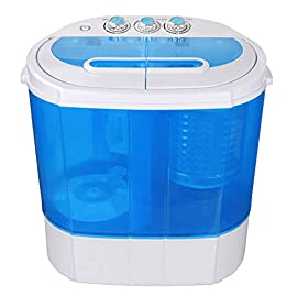 SUPER DEAL Portable Compact Washing Machine, Mini Twin Tub Washing Machine w/Washer&Spinner, Gravity Drain Pump and… 1 ★ The smallest and lightest twin tub portable washing machine available, our highly popular Super Compact washing machine simply hooks up to your kitchen faucet, and it's ready to go. With a 5.5 lb. wash capacity + 4.4 lb. Spin capacity, this 2in1 washing machine is perfect for washing small loads quickly and efficiently – getting your clothes sparkly clean and with its gentler washing cycle keeping them in great condition for longer! ★ Save your precious time by washing and spinning dry loads at the same time. You can move clothes directly from the washer to the spinner, or run both sides together to finish your laundry. Washer control timer runs for up to 15 minutes while the spin cycle timer runs for up to 5 minutes each load. ★ Unlike other washers on the market - No more poor rinses. The True rinse technology delivers the best rinsing results ever, without wasting water. Our washing machine includes 2 deep rinses on all cycles. And the maximum water level means the tub is really full of water up to the top.