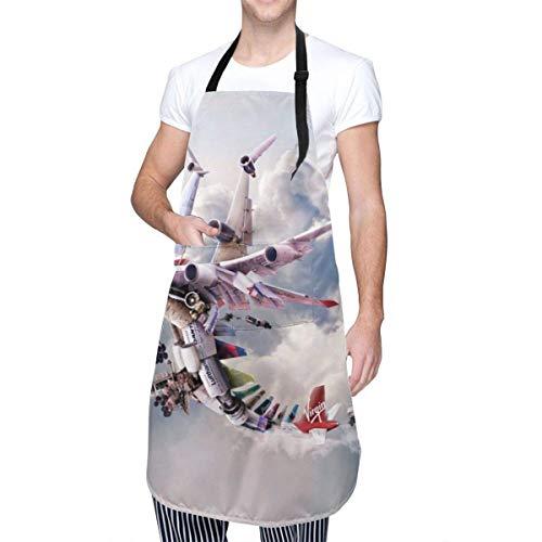 N\A Delantal de Cocina Impermeable, Babero de Cocina de Chef Ajustable, Bolsillo de Canguro Delantero con Lazo en la Cintura y Cuello de Arte de Aviones