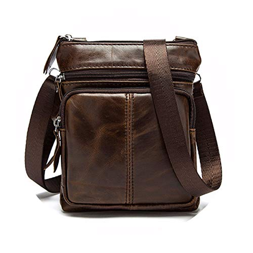 OURBAG Casual Men's Leather Shoulder Bag Vintage Sport Crossbody Bag Business Bag Small Satchel Bag Sling Travel Bag Coffee