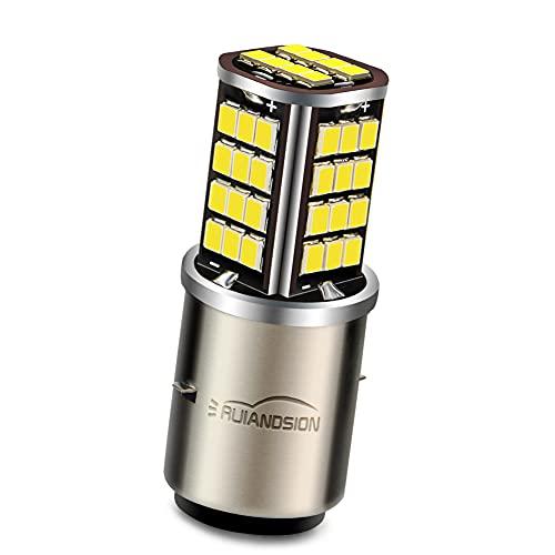 Ruiandsion 1pcs BA20D LED Motorcycle Headlight Bulb DC 6V 2835 56SMD Chipset High Low Beam Extremely Bright Xenon White 6000K