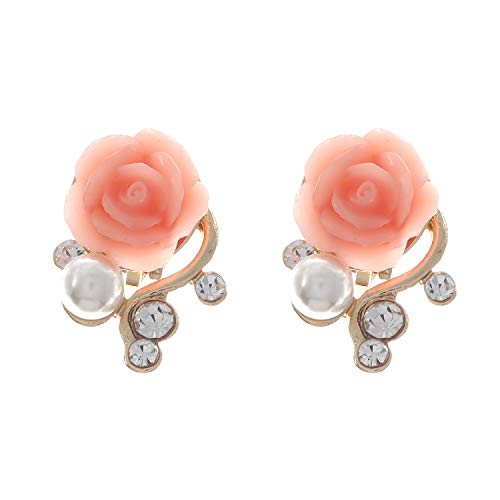 Idin Jewellery, orecchini a clip con rosa, perla e cristallo