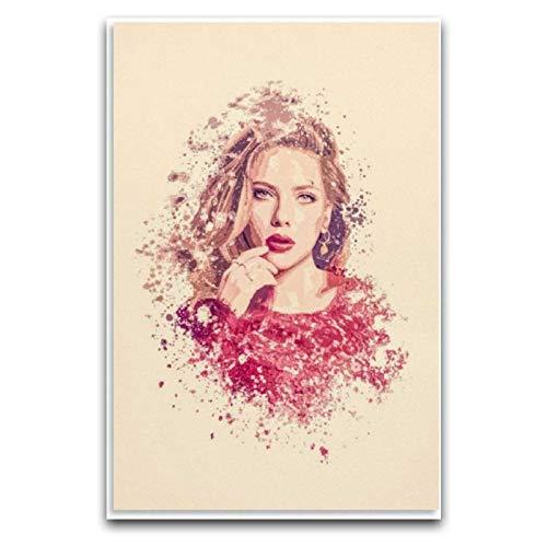 Modell sångare Scarlett Johansson kanvas konstaffisch och väggkonst bildtryck modern familj sovrum dekor affischer inramad och konst väggduk, modern konstnärlig väggdekor bilder, ramlös panel vägg A