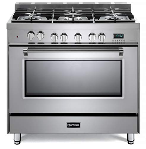 Verona Prestige Series VPFSGE365SS 36 inch Dual Fuel Range Turbo Convection Oven 5 Sealed Burners Stainless Steel Storage Drawer