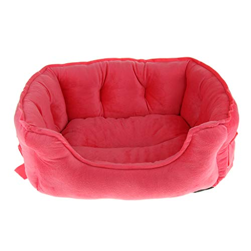 SM SunniMix Hundebett Hundekissen Hundekorb Waschbar Sofa mit Schleife Dekor für Kleine Hunde und Katzen - Rose Rot