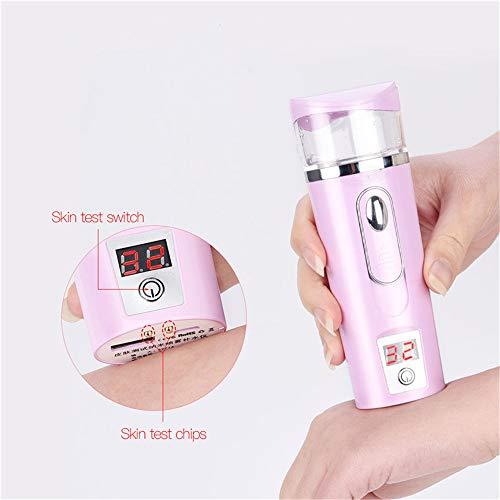 Handige gezichtsstomer Nano Mister met huidvochtigheid tester Verneveling Wimper Uitbreidingen Mist Draagbare gezichtssprayfles Hydraterende tool USB oplaadbaar Powerbank,Pink