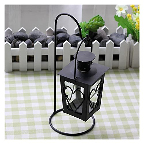 Candle Lantern With Clear Glass Decorative Retro Hollow Hanging Candle Holder Lantern For Home Decoration Wedding Decoration (Size : White)