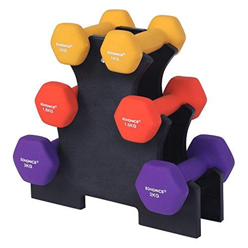 SONGMICS Hanteln Kurzhantel Set, Hexagon, mit Hantelständer, 2 x 1 kg, 2 x 1,5 kg, 2 x 2 kg, mattes Finish, Neopren-Beschichtung, Krafttraining für Frauen, zu Hause, Fitnessstudio SYL69BK