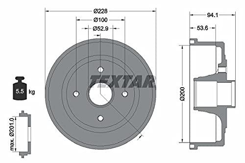 2x TEXTAR HINTEN Bremstrommel für VAUXHALL Corsa Mk II (C) Schrägheck (X01)