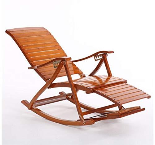 YAMEIJIA Comfortabele Relax Bamboe schommelstoel Met Voet Rest Ontwerp Woonkamer Meubels Volwassen Lounge Stoel Ligstoel Ligstoel Binnen/buiten, A