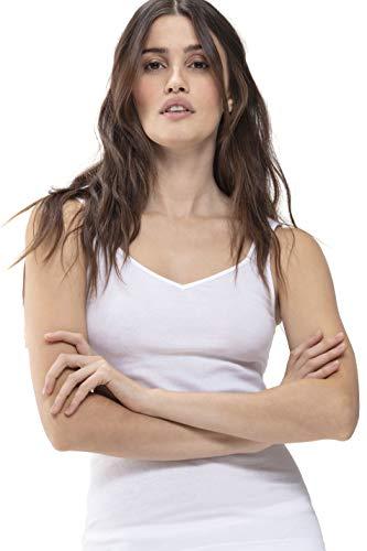 Mey Basics Serie Noblesse Damen Tops breiter Träger Weiß 42