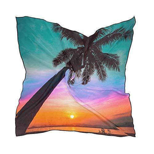 NaiiaN Cuadrado 60 × 60 CM Jefes Cabezal de impresión ligero Envoltura Pañuelo para mujer Señoras Chal Bufanda Puesta de sol Hoja de palmera