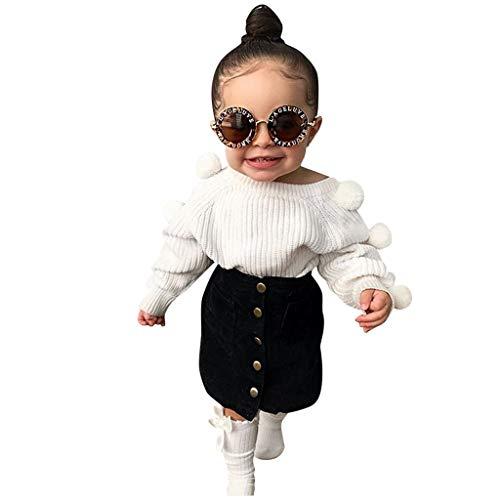 Lenfesh Toddler Nios Bebs Nias Ropa de otoo Moda Salvaje Blanco Manga Larga Hairball Tops de Punto Suter Camisa Botn de Color slido Trajes de Falda