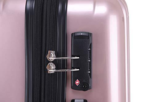Münicase Münicase TSA-Schloß Koffer Reisekoffer Trolley Kofferset (Rosa Gold, Kleiner Koffer (ca.54cm))