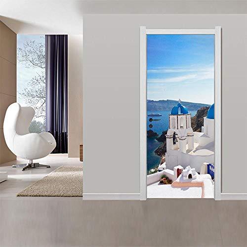 BXZGDJY 3D deur-wandstickers Hawaii Seaview 90X200cm deurbehang zelfklevend deurposter, zelfklevende 3D-deur-raam-behangstickers verwijderbare deur-decoratie-plakfolie voor doe-het-zelf interieur