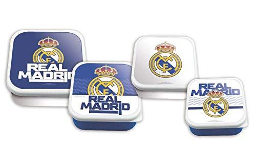 Real Madrid 4-delige set sandwichmakers in 1 bento-box, levensmiddelenkast, huishoudartikelen, unisex, volwassenen, meerkleurig, eenheidsmaat