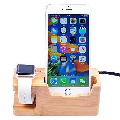 TWH Cargador USB de 3 Puertos para Smartphone Estación de Carga de Escritorio de Madera de Bambú Estación de Carga de 3 Puertos USB Dock de Carga para iPhone, iPad