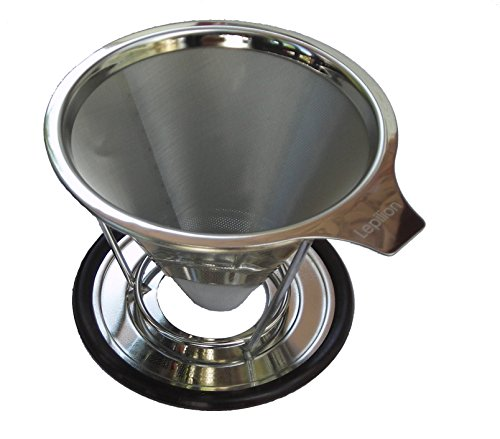 Lepilion Stainless Steel Reusable Coffee Filter and Brewer with Coffee Stand (2 cup) | Paperless Pour Over Coffee Dripper | Permanent | Coffee maker | Coffee Dripper