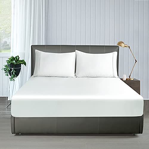100% Bamboo Cooling Fitted Sheet Twin XL Only, 400 TC Twin XL Size Fitted Sheet White, 16″ Deep Pocket, Colorfast Dyes & Shrink Resistant, Soft & Silky and Breathable for Home & Hotel Luxury