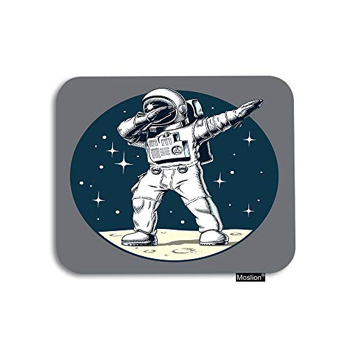 Moslion Space Mouse Pad Funny Dabbing Astronaut On Universe Planet Moon with Stars Polka Dot Gaming Mouse Pad Rubber Large Mousepad for Computer Desk Laptop Office Work 7.9x9.5 Inch